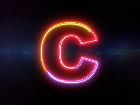 Letter C - colorful glowing outline alphabet symbol on blue lens flare dark background