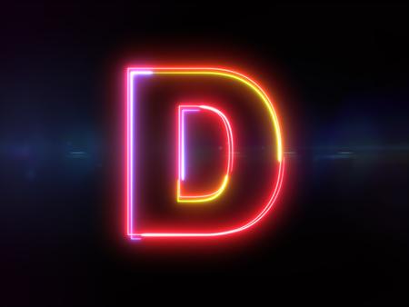 Letter D - colorful glowing outline alphabet symbol on blue lens flare dark background