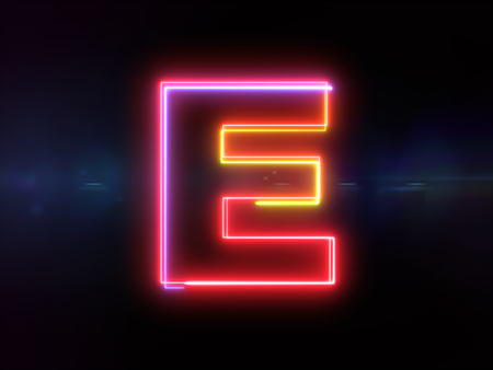 Letter E - colorful glowing outline alphabet symbol on blue lens flare dark background