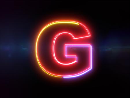 Letter G - colorful glowing outline alphabet symbol on blue lens flare dark background