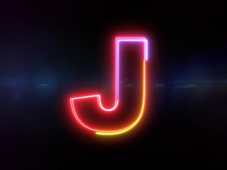 Letter J - colorful glowing outline alphabet symbol on blue lens flare dark background