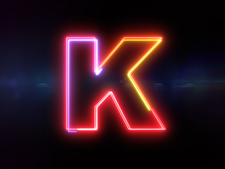 Letter K - colorful glowing outline alphabet symbol on blue lens flare dark background