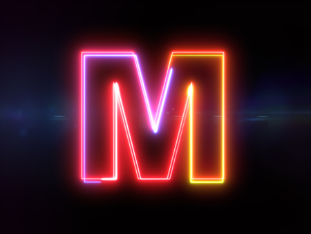 Letter M - colorful glowing outline alphabet symbol on blue lens flare dark background Stock Photo