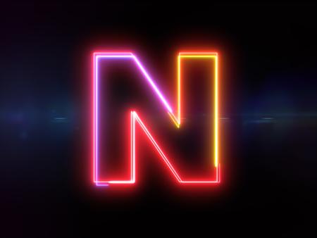 Letter N - colorful glowing outline alphabet symbol on blue lens flare dark background Imagens