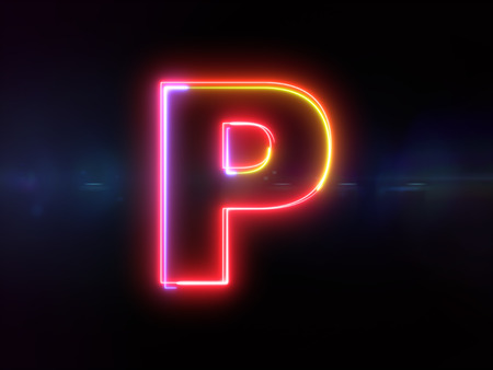 Letter P - colorful glowing outline alphabet symbol on blue lens flare dark background