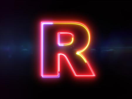 Letter R - colorful glowing outline alphabet symbol on blue lens flare dark background