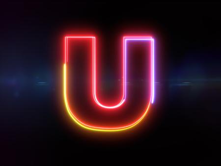 Letter U - colorful glowing outline alphabet symbol on blue lens flare dark background