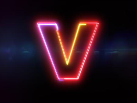 Letter V - colorful glowing outline alphabet symbol on blue lens flare dark background
