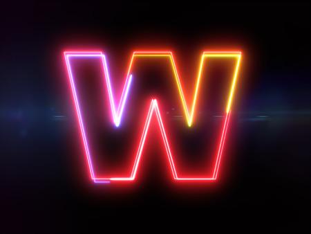 Letter W - colorful glowing outline alphabet symbol on blue lens flare dark background