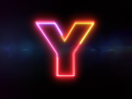 Letter Y - colorful glowing outline alphabet symbol on blue lens flare dark background Imagens