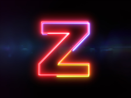 Letter Z - colorful glowing outline alphabet symbol on blue lens flare dark background