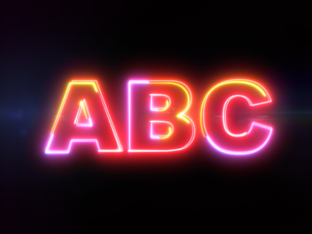 ABC - colorful glowing outline text alphabet letters on blue lens flare dark background Imagens