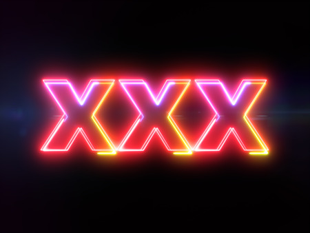 XXX - colorful glowing outline text on blue lens flare dark background