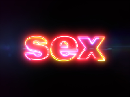 Sex word - colorful glowing outline text on blue lens flare dark background Imagens