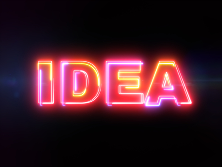 Idea - colorful glowing outline text word on blue lens flare dark background Imagens