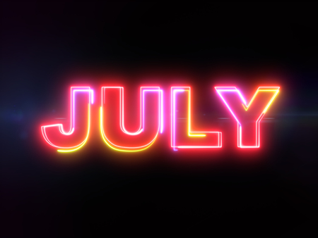 July colorful glowing outline text word on blue lens flare dark background