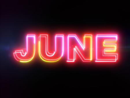 June colorful glowing outline text word on blue lens flare dark background