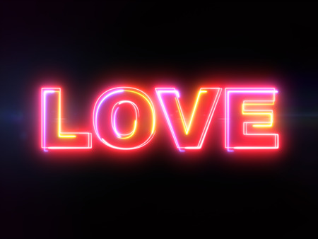 Love word - colorful glowing outline text on blue lens flare dark background