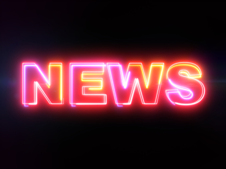 News - colorful glowing outline text on blue lens flare dark background