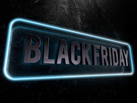 Black friday metallic text surrounded by a blue neon border Imagens