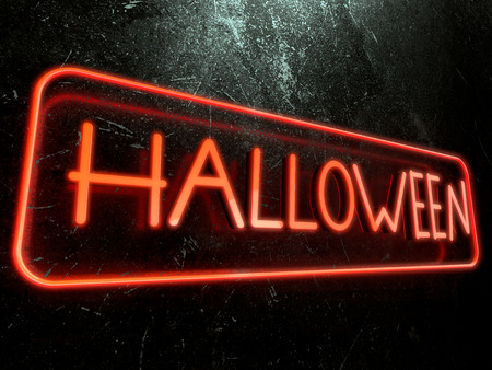 Halloween text surrounded by a orange neon border Imagens