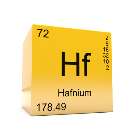 Hafnium chemical element symbol from the periodic table displayed on glossy yellow cube Foto de archivo - 118565680