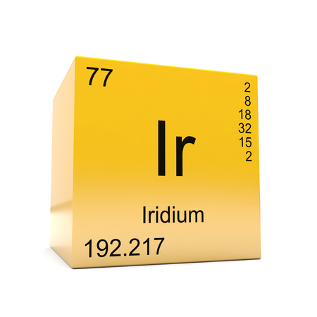 Iridium chemical element symbol from the periodic table displayed on glossy yellow cube