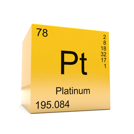 Platinum chemical element symbol from the periodic table displayed on glossy yellow cube Foto de archivo - 118565693