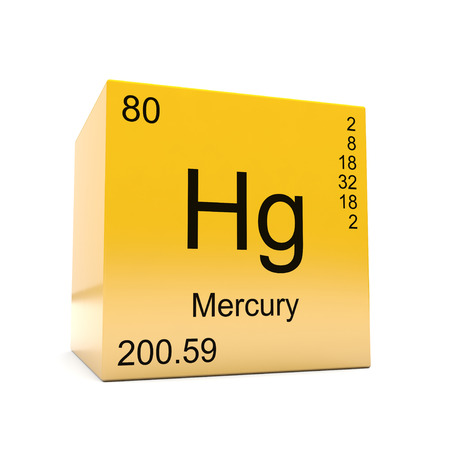 Mercury chemical element symbol from the periodic table displayed on glossy yellow cube