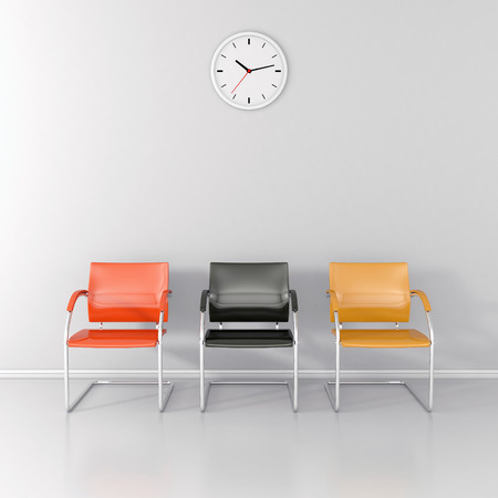 Three colored stools and wall clock in the waiting room