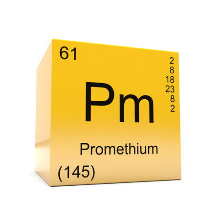 Promethium chemical element symbol from the periodic table displayed on glossy yellow cube