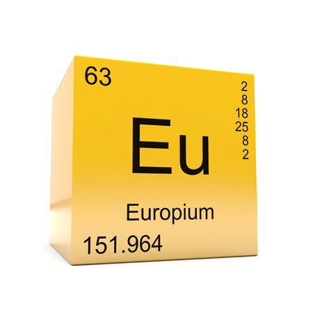 Europium chemical element symbol from the periodic table displayed on glossy yellow cube Imagens