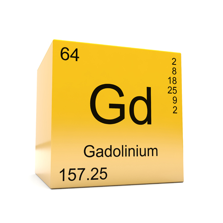 Gadolinium chemical element symbol from the periodic table displayed on glossy yellow cube