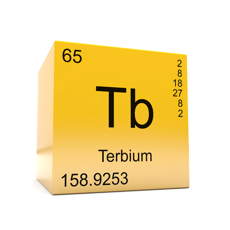 Terbium chemical element symbol from the periodic table displayed on glossy yellow cube Foto de archivo - 118565770