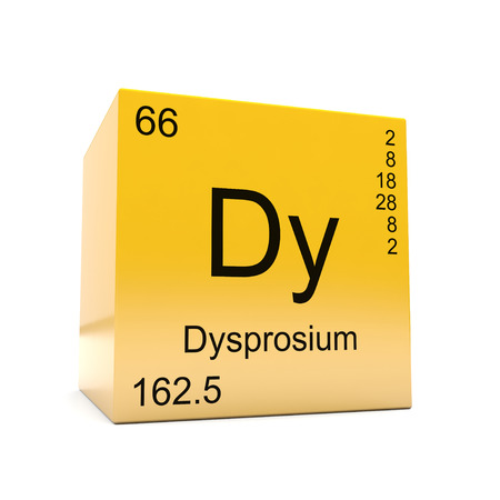 Dysprosium chemical element symbol from the periodic table displayed on glossy yellow cube
