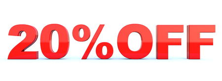 20 percent off discount - glossy red text on white background wide banner 3D render