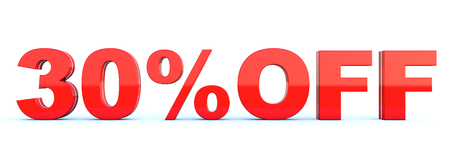 30 percent off discount - glossy red text on white background wide banner 3D render Imagens