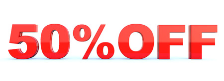50 percent off discount - glossy red text on white background wide banner 3D render
