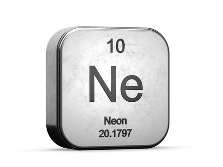 Neon element from the periodic table. Metallic icon 3D rendered on white background
