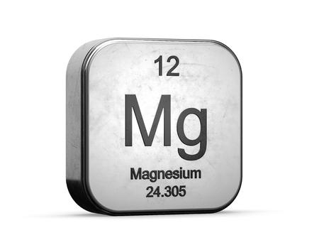 Elemento di magnesio dalla tavola periodica. Icona metallica 3D resa su sfondo bianco