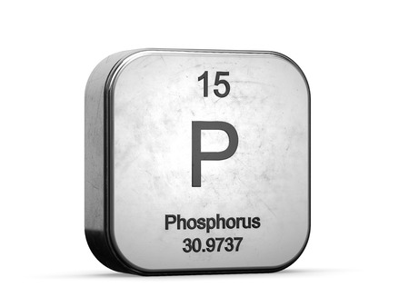 Phosphorus element from the periodic table. Metallic icon 3D rendered on white background Stock Photo