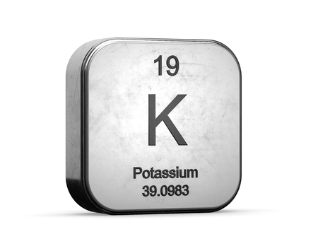 Potassium element from the periodic table. Metallic icon 3D rendered on white background