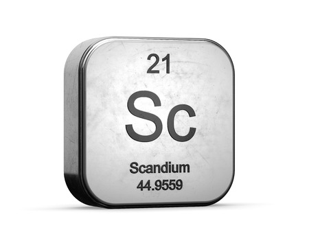 Scandium element from the periodic table. Metallic icon 3D rendered on white background