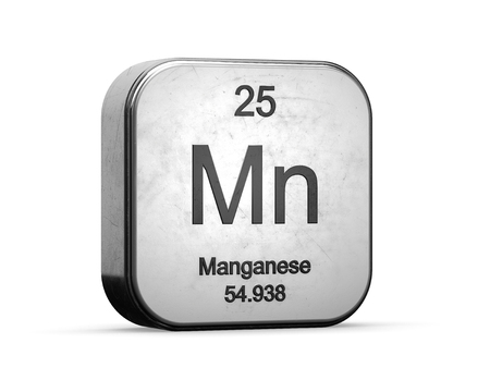 Manganese element from the periodic table. Metallic icon 3D rendered on white background