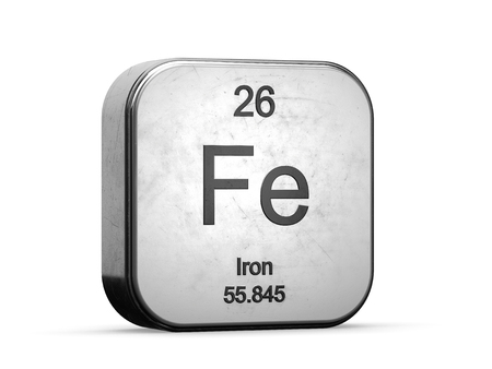 Iron element from the periodic table. Metallic icon 3D rendered on white background Imagens