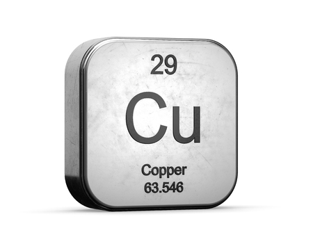 Copper element from the periodic table series. Metallic icon set 3D rendered on white background