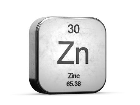 Zinkelement uit de serie periodiek systeem. Metalen pictogrammenset 3D weergegeven op een witte achtergrond Stockfoto