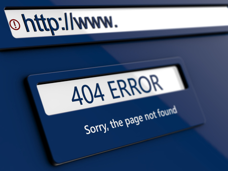 404 error, page not found, message on conceptual design web page Imagens