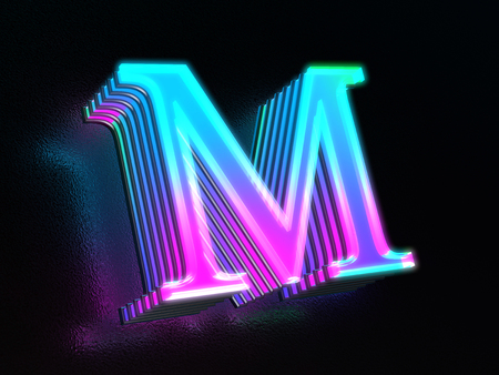 Beautiful colored glass letter M glowing in the dark