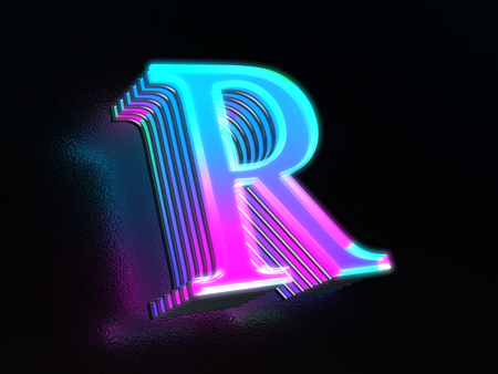 Beautiful colored glass letter R glowing in the dark